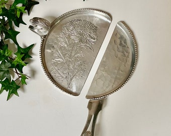 50s Silent Butler / Crumb Sweeper - Gleaming Hammered Aluminum - Vintage Table Accessories - SILVERLOOK