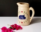 Vintage Stoneware Pitcher - Salt Glazed - House Hearts Motif - Farmhouse Kitchen Decor