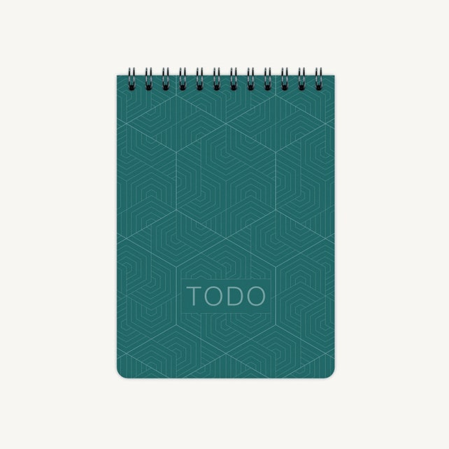 Todo List A6 | Geometric | Atoll Green | notebook | note pad | lists | gift tags | paper tags | planner | spiral notebook | organizer |