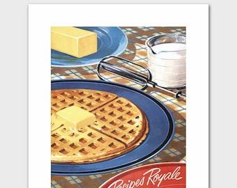 "1950s Kitchen Print (Vintage Cooking Art, Retro Wall Decor) ""Recipes Royale"" --- Food Artwork"