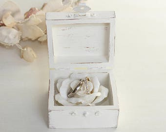 Ring Bearer Box Rustic Forever, I Do, We Do, Love Personalization Choice, Paper Rose or Burlap Inside