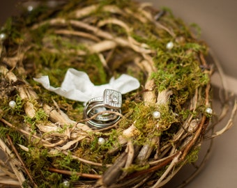 Ring Bearer Pillow Nest Rustic Cake Topper, Lined With Pearls Or Crystals, Leaves And Moss, Rustic Shabby Chic Wedding