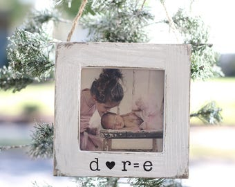 Baby's First Christmas Gift Ornament  Sonogram Frame New Baby Gift New Family Picture Frame Rustic Personalized