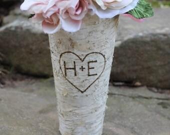 Birch Vase Personalized Flower Pot Pail