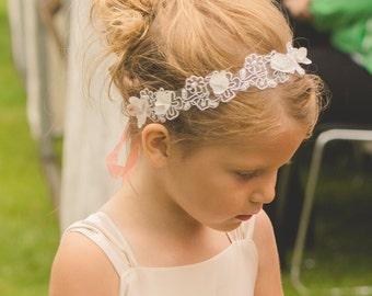 Flower Girl Headband Wedding Bridal Headband Child Headband Baby Girl Christening