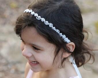 Flower Girl Headband Headpiece Pearls and Lace Ivory or White Wedding Bridal, Christening, Child Headband Baby Girl