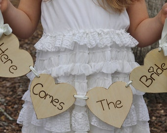 Here Comes The Bride Sign Flower Girl or Ring Bearer Rustic Shabby Chic Weddings