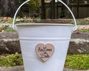 Flower Girl Basket Here Comes the Bride or Here Comes Mommy Custom Color Pail Rustic, Shabby Chic Weddings