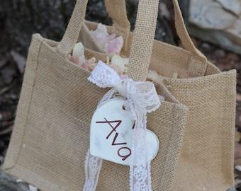 Flower Girl Basket Burlap Personalized Heart Custom Color Ribbon Wedding Basket