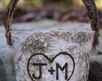 Personalized Rustic Birch Flower Girl Basket, Twig Handle Rustic Wedding - PLEASE READ MEASUREMENTS