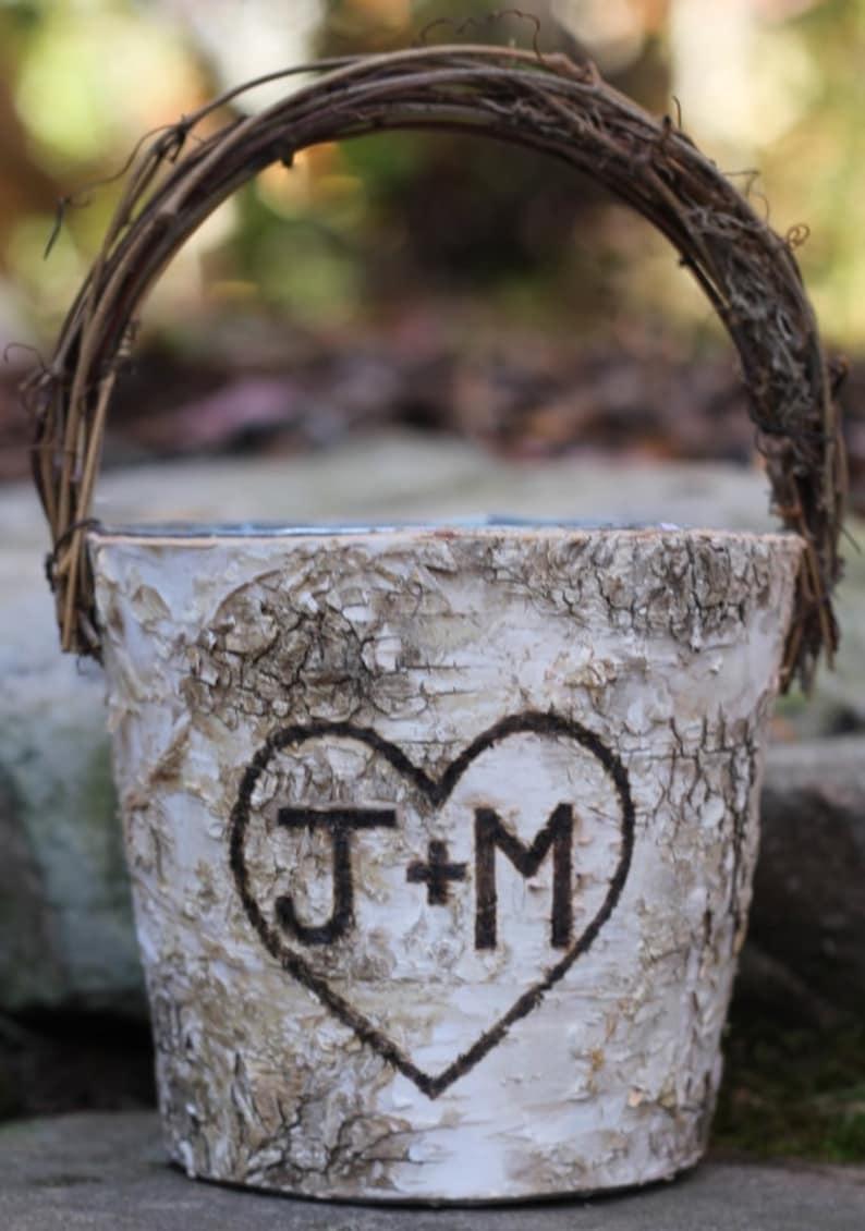 Personalized Birch Rustic Flower Girl Basket Twig Handle image 0