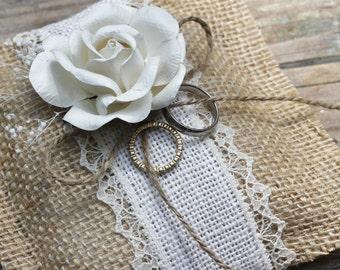 Wedding Ring Pillow Rustic Baby's Breath Custom Ribbon Choice, Vintage Shabby Chic Weddings