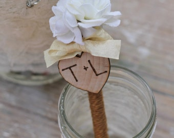 Rustic Wedding Pen Personalized Custom Ribbon Color Choice, White or Cream Roses