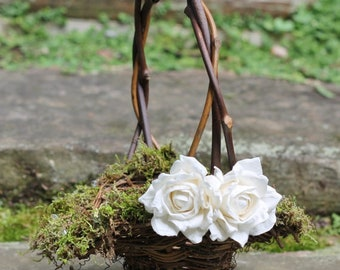 Flower Girl Basket Lined With Moss And Crystals or Pearls, Roses Rustic Shabby Chic Weddings