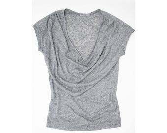 Slub Linen Drapey Jersey Top - Slate Blue, Pink Speckle, or Black Speckle   Small, Medium, Large