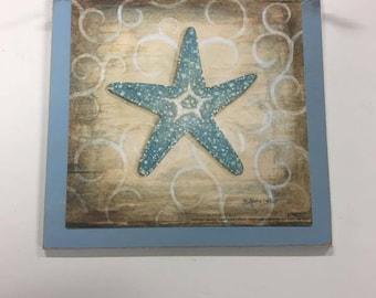 Blue Starfish Or Seahorse Tropical Wooden Wall Art Sign Beach Decor Bathroom  Shells Choose Style