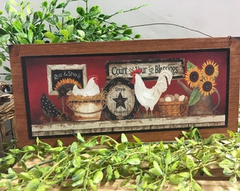 Kitchen Closed This Chicks Had It rooster country Kitchen Painted wooden sign