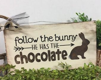 Chocolate Bunnies Rabbit Sign Home Decor Easter Sign- Chocolate Rabbit