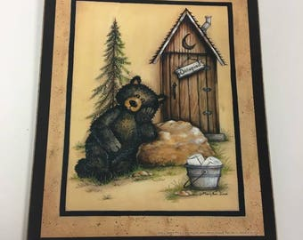 Quick View. More Colors. Black Bear Occupied Outhouse Bathroom Decor ...