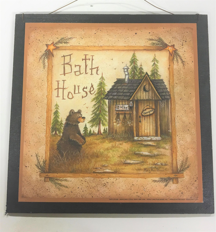 Bear Bath House Country Outhouse Bathroom Wooden cabin bath | Etsy