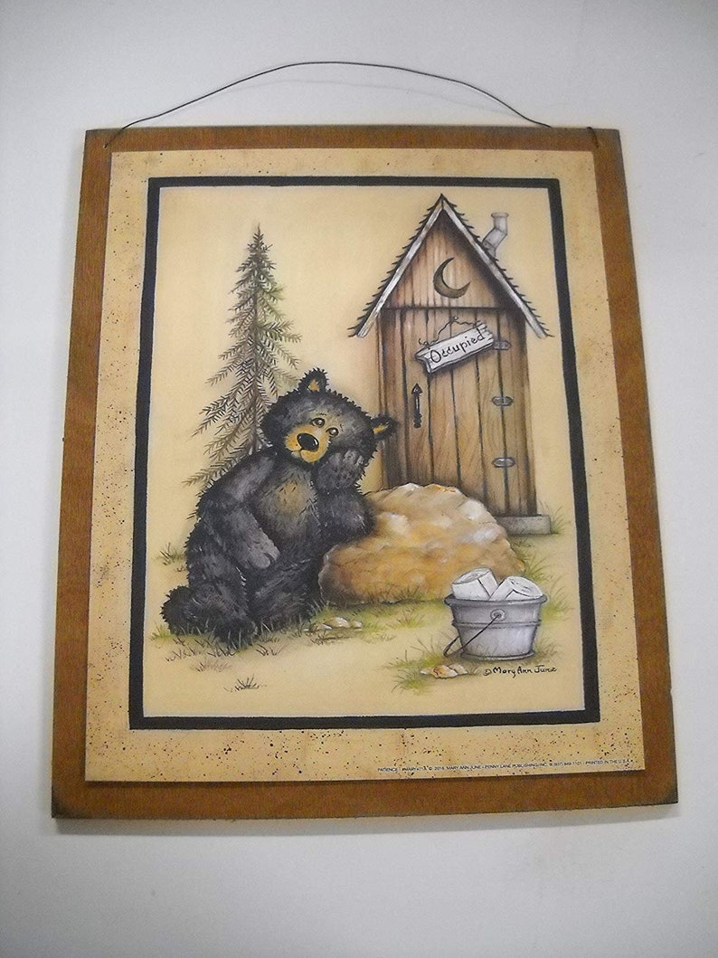 Black Bear Occupied Outhouse Bathroom Decor Wood Sign Country Etsy