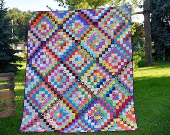 MODERN CUSTOM Scrap Patchwork Homemade QUILTS for Sale