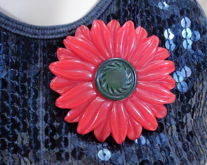 Featured listing image: Huge Carved Red Bakelite Flower with Raised Dark Green Center