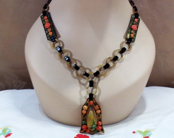Celluloid Necklace With Dangling Pendent Applied Roses and Painted Leaves and Borders Very Early Elaborate Celluloid Necklace Gift for Her