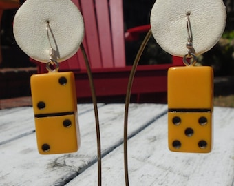 Bakelite Mini Domino Pierced Earrings Re-Purposed Bakelite Earrings Simichrome Tested Bakelite Dangle Earrings Mini Domino Fun Game Jewelry