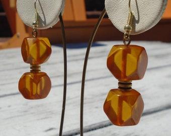 Bakelite Earrings Apple Juice Carved Geometric Drop Earrings Simichrome Tested Re-Purposed Apple Juice Bakelite Pierced Dangle Earrings