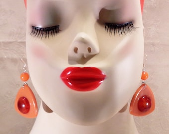 Upcycled Bakelite Dangle Earrings for Pierced Ears in Soft Orange with Fiery Marble Cabs
