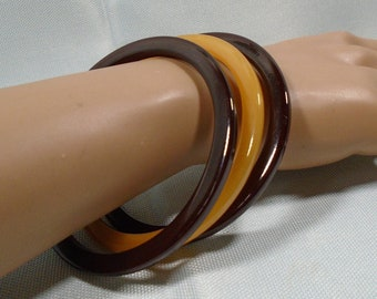 Set of Three Bakelite Bangle Spacer Bracelets Simichrome Tested Rich Chocolate and EOD Pineapple Bakelite Spacer Bangles For Stacking