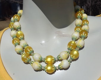 Vintage Lucite Two Strand Spring Necklace with Yellow Moon Glow Beads Green & Yellow Decorative Bead Caps and Crystal Spacer Beads