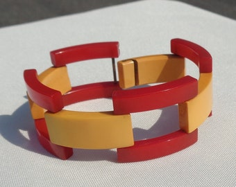 Bakelite Bracelet Red and Yellow Track Bracelet Simichrome Tested Glossy Yellow and Cherry Red Bakelite Track Bracelet Art Deco Bracelet