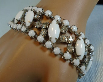 Vintage Bracelet with Clear Rhinestones and Milk Glass Cabochons 1950's Bracelet with Prong Set Sparkling Rhinestones and Smooth Cabs