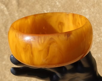 Wide Bakelite Bangle in Opaque and Translucent Sunny Orange