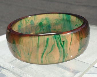Bakelite Bracelet Transparent Applejuice with Green Marbling Simichrome Tested Glossy Wide Applejuice Bakelite Bangle with Gaudy Marbling