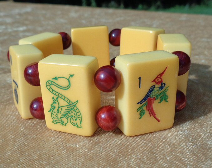 Featured listing image: Bakelite Lucky Dragons Mah Jong Bracelet Re-Purposed Bakelite Mahjong Tiles & Bakelite Beads Includes 3 Dragons and Birdie Bam