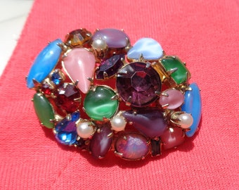 Small Oval Rhinestone Pin Faux Opal and Multi-Color Glass Cabochons in Bright Sparkling Colors Great Vintage Rhinestone Brooch for Her