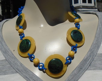 Bakelite Necklace Poker Chip Necklace on Blue Chain Simichrome Tested Yellow Marble Bakelite Poker Chips with Large Blue Moon Cabs