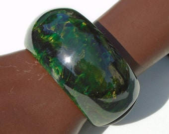 Blue Moon Marble Bakelite Clamper Simichrome Tested Wide Chunky Catalin Blue Moon Marble Hinged Bracelet