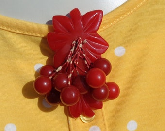 Red Bakelite Carved Coat Clip Dangling Berries Simichrome Tested Large Red Bakelite Carved Coat or Dress Clip with 10 Dangling Round Berries