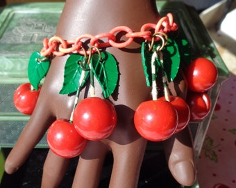 Bakelite Bracelet Carved Red Cherries on Celluloid Chain  with Green Leaves Collectible Bakelite Cherries Bracelet Bakelite Gift for Her