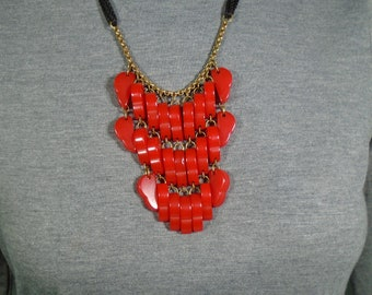 Strawberry Bakelite Dangle Necklace Three Rows of Carved Dangles on Brass Chain and Black Cord Simichrome Tested Unusual Bakelite Necklace