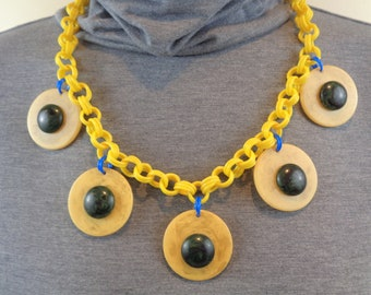 Bakelite Necklace Poker Chip Necklace Upcycled Bakelite Simichrome Tested Marbled Yellow Bakelite Poker Chips with Green Marbled Cabochons