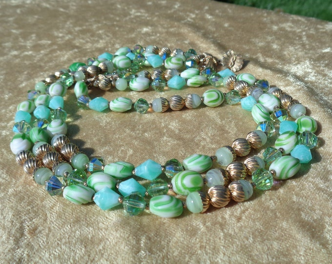 Featured listing image: Vendome Necklace Crystal and Glass 3 Strand Necklace Green Crystals and Art Glass Beads Gold Accents Mid Century Vendome Jewelry For Her
