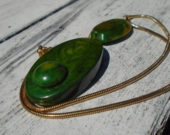 Bakelite Necklace Spinach Marble OOAK Necklace Simichrome Tested Re-Purposed Bakelite Modern Style Handcrafted Bakelite Pendent on Chain