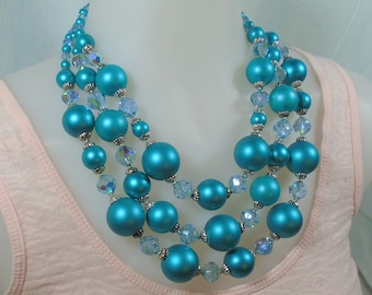 Vendome Demi Peacock Blue Beads and Coordinating Crystals Elegant 3 Strand Necklace and Earrings Gorgeous Mid Century Vintage Jewelry Set