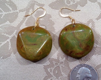 Upcycled Bakelite Earrings for Pierced Ears in Green EOD Marble