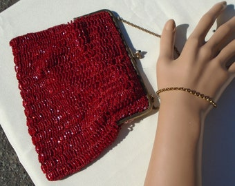 Red Seed Bead Vintage Purse Evening Handbag Brass Frame with Decorated Closure and Embroidered Flowers Inside